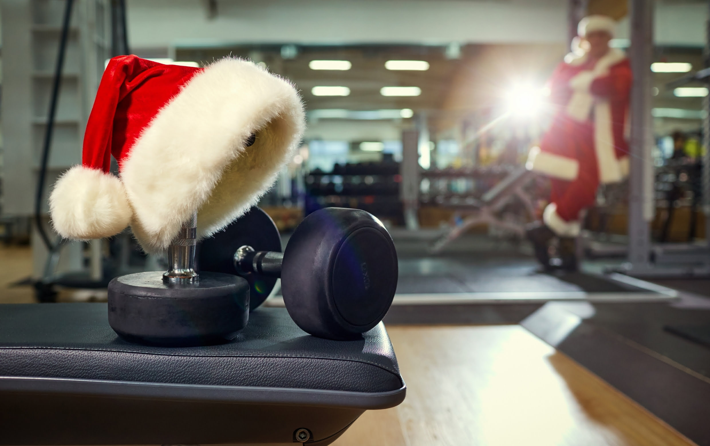 Header image of Santa in the gym